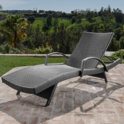 Berne Outdoor Wicker Armed Chaise Lounge