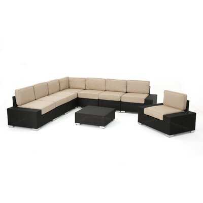 Hettie Outdoor Wicker 9 Piece Sectional Set with Cushions