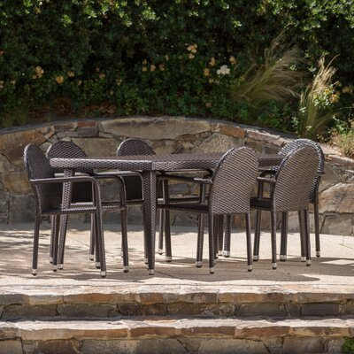 Georgianne Outdoor Wicker 7 Piece Dining Set Color: Brown