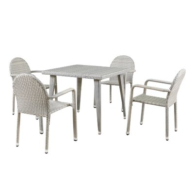 Georgianne Outdoor Wicker 5 Piece Dining Set Color: Chateau Gray