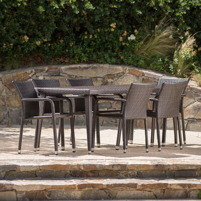 Georgene Outdoor Wicker 7 Piece Dining Set Color: Brown