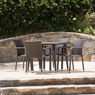 Georgene Outdoor Wicker 5 Piece Dining Set Color: Brown