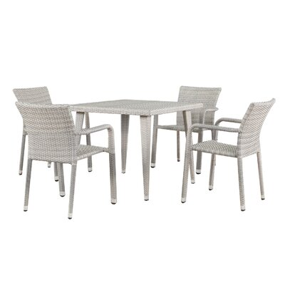 Georgene Outdoor Wicker 5 Piece Dining Set Color: Chateau Gray