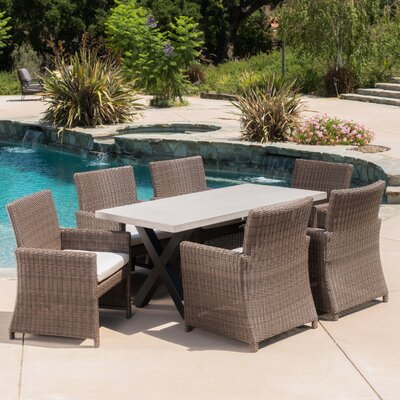 Hostetler Outdoor 7 Piece Dining Set with Cushions