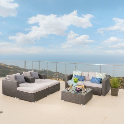 Bour Outdoor Wicker 7 Piece Deep Seating Group with Cushion Fabric: Gray