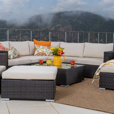 Bour Outdoor Wicker 10 Piece Deep Seating Group with Cushion Fabric: Multibrown