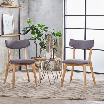 Putnam Upholstered Wood Dining Chair Upholstery Color: Dark Gray, Frame Color: Oak