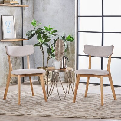 Putnam Upholstered Wood Dining Chair Upholstery Color: Light Beige, Frame Color: Oak