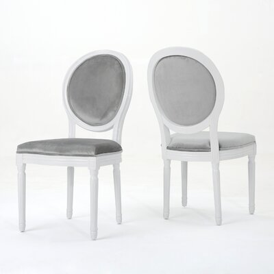 Jamar Velvet Upholstered Dining Chair Color: Horizon Gray/White