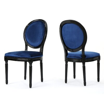 Jamar Velvet Upholstered Dining Chair Color: Navy Blue/Black