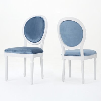 Jamar Velvet Upholstered Dining Chair Color: Ice Blue/White