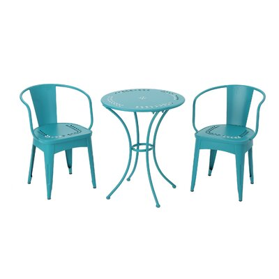 Greendale Iron 3 Piece Bistro Set Color: Teal