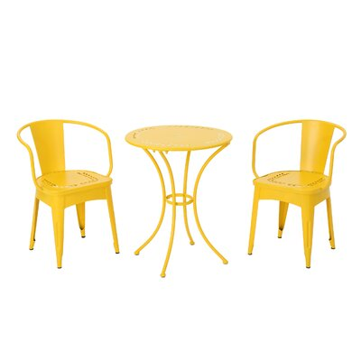 Greendale Iron 3 Piece Bistro Set Color: Yellow