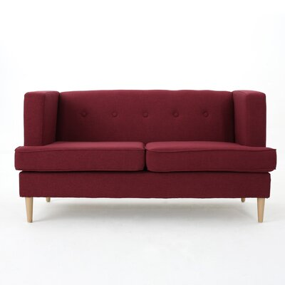 Pannell Fabric Loveseat Color: Deep Red