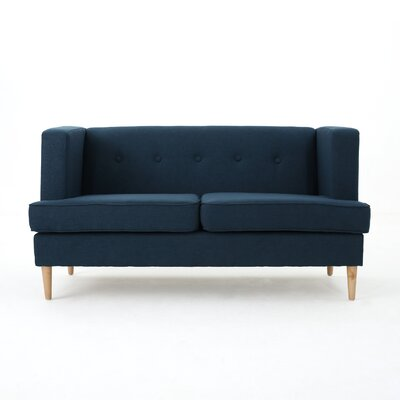 Pannell Fabric Loveseat Color: Navy Blue