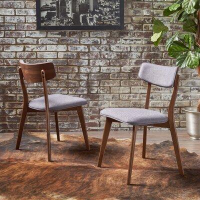 Putnam Upholstered Dining Chair Upholstery Color: Dark Gray, Frame Color: Walnut