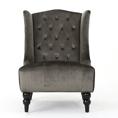Potterslane High-Back New Velvet Wingback Chair Upholstery: Gray