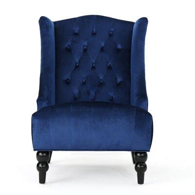 Potterslane High-Back New Velvet Wingback Chair Upholstery: Navy Blue