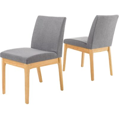 Joseph Side Chair Upholstery: Dark Gray, Finish: Natural Oak