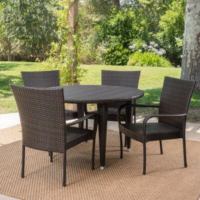 Straker 5 Piece Dining Set Color: Brown