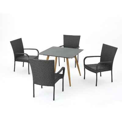 Dionysus 5 Piece Dining Set Color: Gray