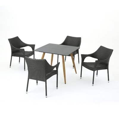 Dionysus Modern 5 Piece Dining Set Color: Gray
