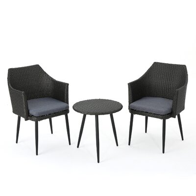 Brant 3 Piece Rattan Conversation Set Fabric: Mixed Black