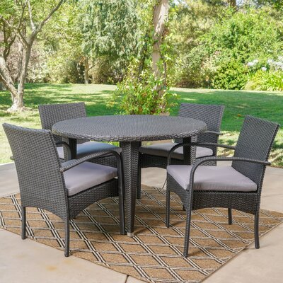 Steadham 5 Piece Dining Set Color: Gray