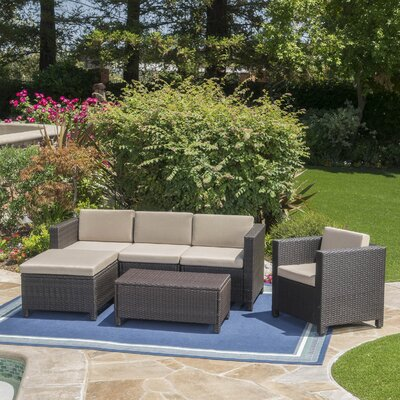Nicolino Outdoor Wicker L-Shaped 6 Piece Deep Seating Group Fabric: Dark Brown
