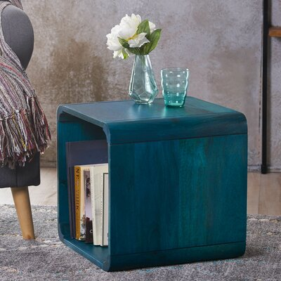 Mediouna Wood End Table Color: Blue
