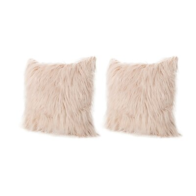 Beaufort Faux Fur Throw Pillow Color: Pastel Pink