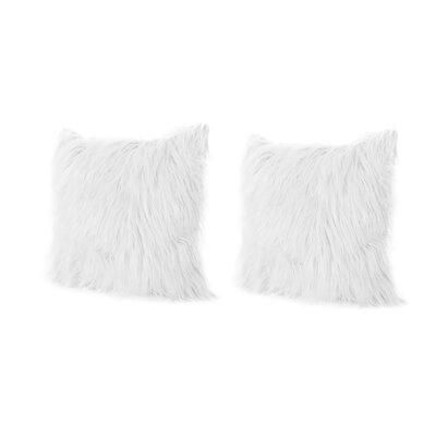Beaufort Faux Fur Throw Pillow Color: White