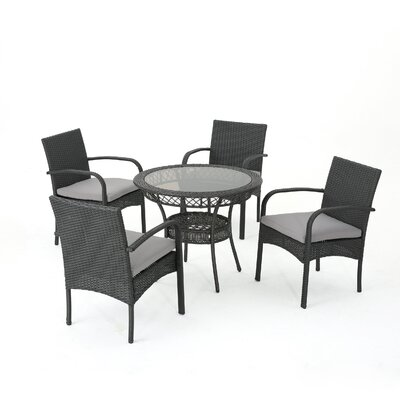 Tomasello Outdoor 5 Piece Dining Set with Cushions