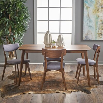 Henry 5 Piece Wood Dining Set Upholstery Color: Dark Grey, Finish: Natural Walnut