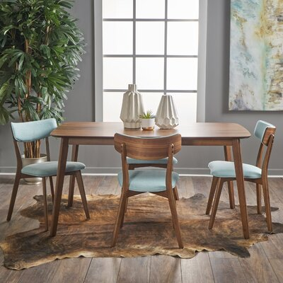 Henry 5 Piece Wood Dining Set Upholstery Color: Mint, Finish: Natural Walnut