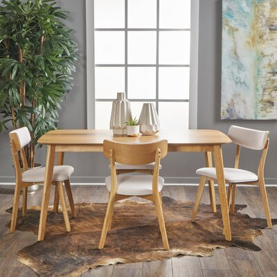 Henry 5 Piece Wood Dining Set Upholstery Color: Light Beige, Finish: Natural Oak