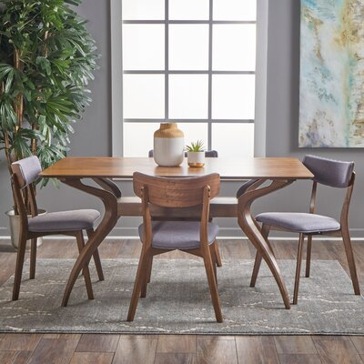 Taurean 5 Piece Dining Set Upholstery Color: Dark Grey, Finish: Natural Walnut