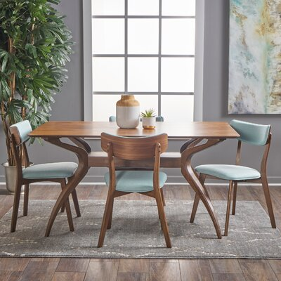 Taurean 5 Piece Dining Set Upholstery Color: Mint, Finish: Natural Walnut
