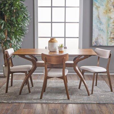 Taurean 5 Piece Dining Set Upholstery Color: Light Beige, Finish: Natural Walnut