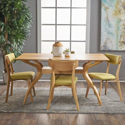 Taurean 5 Piece Dining Set Upholstery Color: Green Tea, Finish: Natural Oak