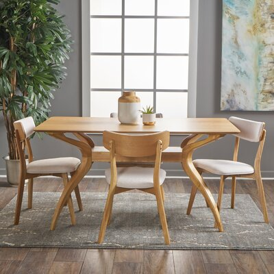Taurean 5 Piece Dining Set Upholstery Color: Light Beige, Finish: Natural Oak
