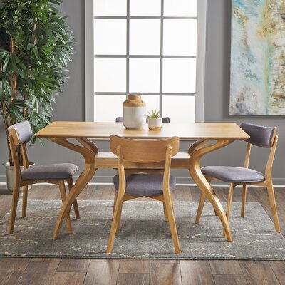 Taurean 5 Piece Dining Set Upholstery Color: Dark Grey, Finish: Natural Oak