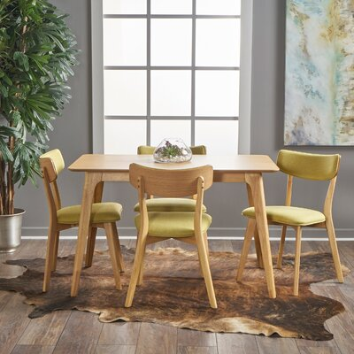 Andrew 5 Piece Dining Set Upholstery Color: Green Tea, Finish: Natural Oak