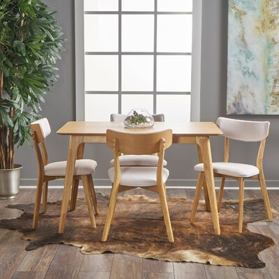 Andrew 5 Piece Dining Set Upholstery Color: Light Beige, Finish: Natural Oak