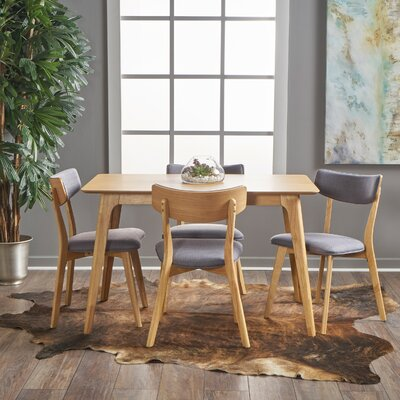 Andrew 5 Piece Dining Set Upholstery Color: Dark Grey, Finish: Natural Oak