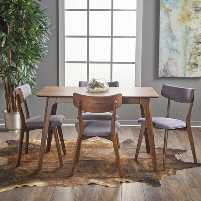 Andrew 5 Piece Dining Set Upholstery Color: Dark Grey, Finish: Natural Walnut
