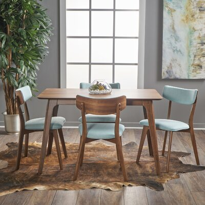 Andrew 5 Piece Dining Set Upholstery Color: Mint, Finish: Natural Walnut