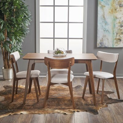 Andrew 5 Piece Dining Set Upholstery Color: Light Beige, Finish: Natural Walnut