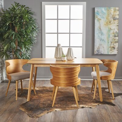 Van 5 Piece Dining Set Upholstery Color: Light Beige, Finish: Natural Oak