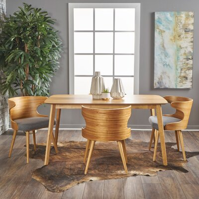 Van 5 Piece Dining Set Upholstery Color: Light Grey, Finish: Natural Oak